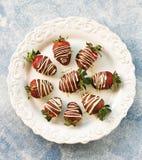 在牛奶和白色巧克力的可口新鲜的草莓 图库摄影