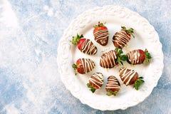 在牛奶和白色巧克力的可口新鲜的草莓 库存照片
