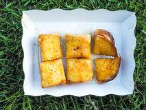 在牛奶浸入的面包,基于绿草的纸碟 库存图片