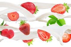 在牛奶的草莓在白色背景飞溅 免版税库存图片