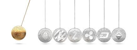 在牛顿` s摇篮的Bitcoin促进并且加速其他cryptocurrencies和反复 免版税库存图片