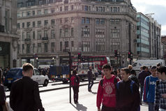 在牛津街伦敦的看法 库存照片