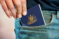 在牛仔裤口袋的澳大利亚护照 库存照片