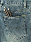在牛仔裤口袋的铅笔 免版税库存照片