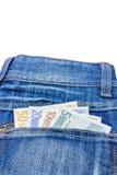在牛仔裤的各种各样的欧洲笔记支持口袋 免版税图库摄影