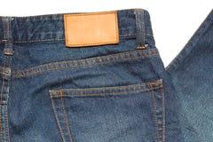 在牛仔裤的商标 库存图片