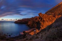 在特内里费岛, Icod de los Vinos大西洋海岸的日落  库存照片