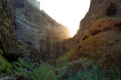 在特内里费岛岩石的日落  免版税图库摄影