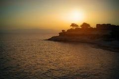 在特内里费岛海岛上的美好的日落 免版税库存图片
