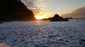 在特内里费岛Teneriffa的黑沙子海滩 库存照片