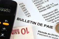 在特写镜头的法国工资单 免版税库存图片