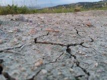 在特写镜头的破裂的地球 图库摄影