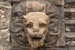 在特奥蒂瓦坎的被雕刻的石雕象 免版税库存照片