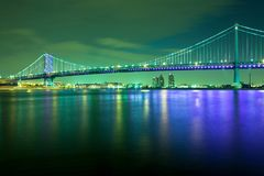 在特拉华河的本杰明・富兰克林桥梁在费城 免版税库存照片