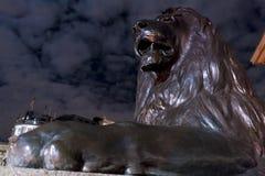 在特拉法加广场伦敦的著名狮子在晚上 库存照片