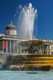 在特拉法加广场的喷泉 图库摄影