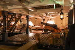在特拉法尔加角战役介入的HMS胜利著名军舰由纳尔逊阁下海军上将指挥了 免版税库存照片