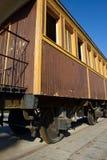 在特拉维夫的老驻地的减速火箭的木铁路支架 免版税库存图片