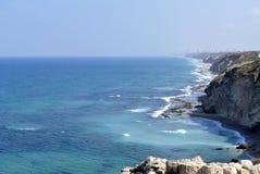 在特拉维夫附近的地中海海岸 库存照片