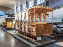 在特斯拉博物馆的老电车在萨格勒布 免版税库存图片