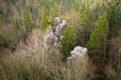 在特普利采,捷克附近的岩石镇 库存图片