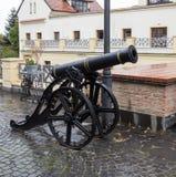 在状态Philharmonics锡比乌-在Cetatii街道的塔利亚音乐堂前面的装饰大炮在一个雨天 锡比乌市 免版税图库摄影