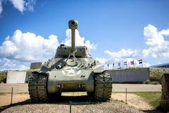 在犹他海滩,诺曼底入侵登陆的纪念品的美国坦克 法国 免版税库存照片