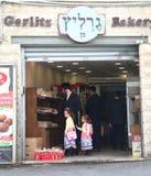 在犹太邻里街道的场面在耶路撒冷 库存照片