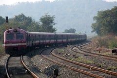 在狂放的印地安火车 免版税库存照片
