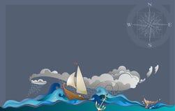 在狂放的自然的Sailling小船 图库摄影