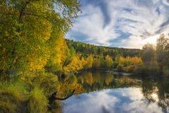 在狂放的taiga的秋天晚上 免版税库存图片
