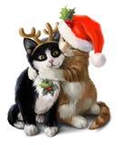 在狂欢节服装的红色和黑小猫 多孔黏土更正高绘画photoshop非常质量扫描水彩 向量例证