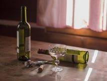 在狂饮作乐的聚会以后的早晨两个空的瓶红葡萄酒和玻璃t 免版税图库摄影