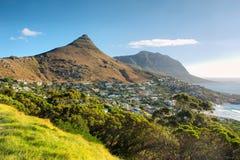 在狮子峰顶和海滩的全景 免版税库存图片