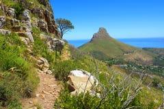 在狮子峰顶的供徒步旅行的小道和视图 库存照片