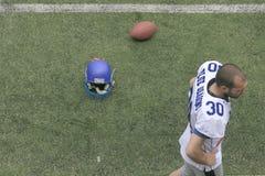 在狼和蓝色龙之间的橄榄球比赛 图库摄影