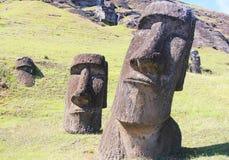 在猎物的Moai,复活节岛,智利 免版税库存图片