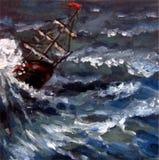 在猛冲的海的船航行 向量例证