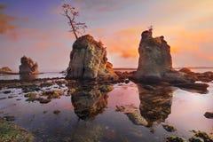 在猪和母猪入口的日落在俄勒冈海岸 免版税图库摄影