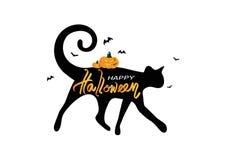 在猫剪影商标海报横幅概念传染媒介、假日书法与棒和南瓜上写字的愉快的万圣节,招呼 向量例证