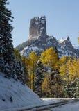 在猫头鹰小河通行证的烟囱岩石- Colora的优美的风景 库存图片