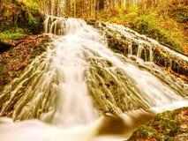 在玄武岩岩石的秋天瀑布 走路的小河和许多五颜六色的叶子在银行 免版税库存图片