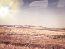 在玉米土地的日落 免版税图库摄影