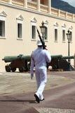 在王子摩纳哥的` s宫殿的附近前进的卫兵 库存照片