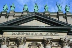 在玛丽,世界的女王/王后大教堂大教堂的雕象  图库摄影