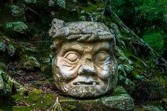 在玛雅废墟的被雕刻的老人头- Copan考古学站点,洪都拉斯 库存图片