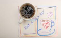在玩得高兴词海报的新鲜的早晨咖啡与拷贝sp 库存照片