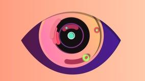 在玫瑰色背景的抽象数字眼睛 库存例证