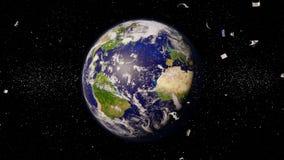 在环地轨道的空间残块,循轨道运行在蓝色行星附近的危险垃圾 库存例证