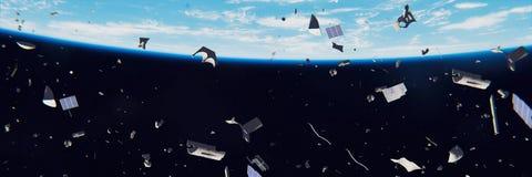 在环地轨道的空间残块,循轨道运行在蓝色行星3d例证横幅附近的危险破烂物 皇族释放例证